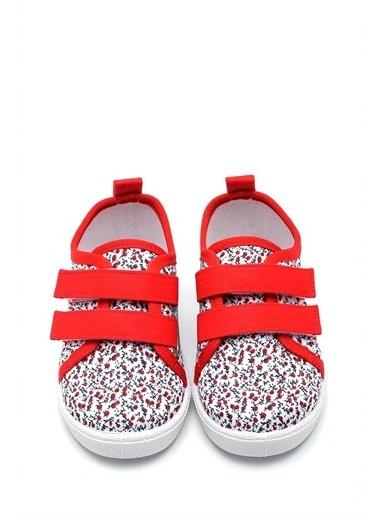 First Step  Çiçek Desenli Çift Cırtlı Keten Çocuk Ayakkabısı--F-498 Kırmızı